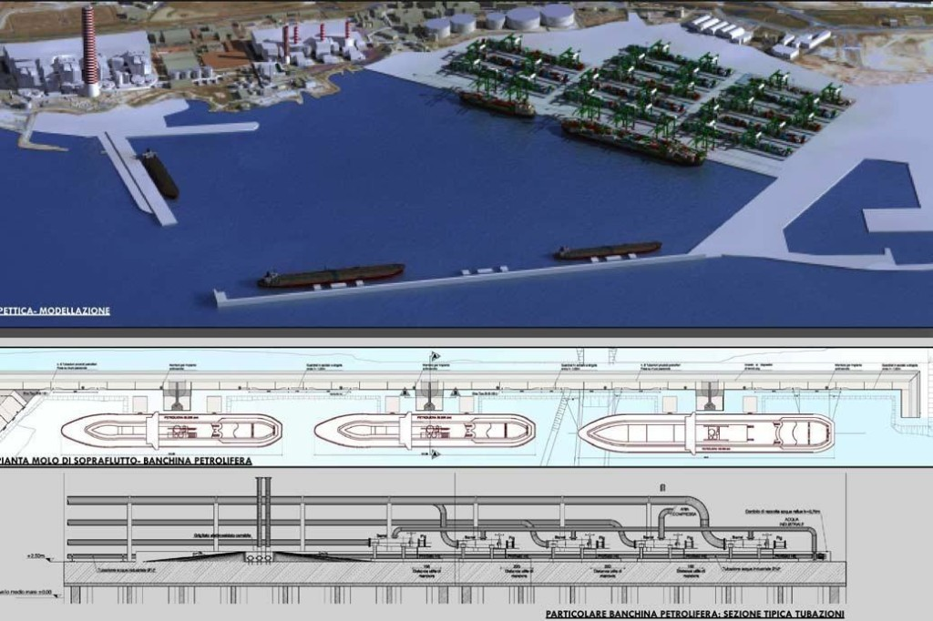 Rendering in 3D del progetto Darsena Energetica/Grandi Masse dal sito http://www.sjs.it/index.php/en/maritime-works
